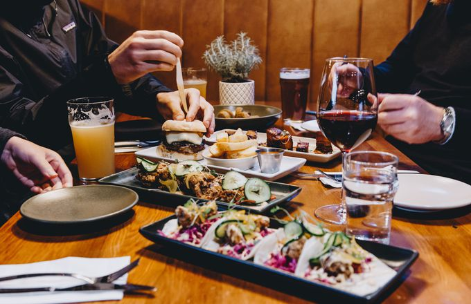 A table of sharing plates at Craft Embassy bar Christchurch, New Zealand.