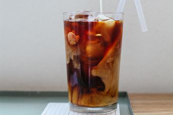 A photo of a cold coffee on a counter.