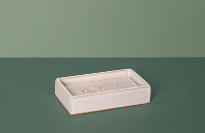 Ceramic soap dish.