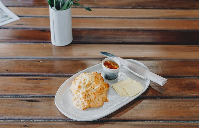 A scone on a table at Kadett.