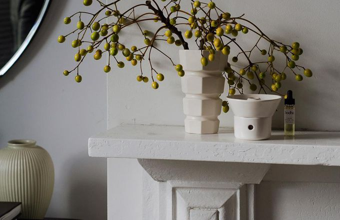 Vases on a mantel.