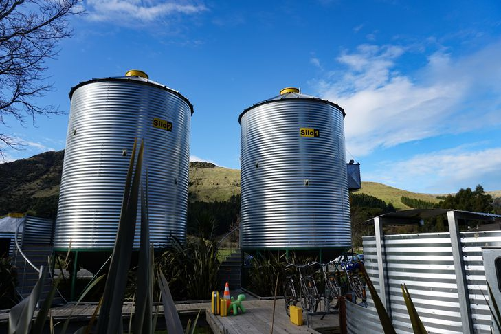 Silos against blue sky.