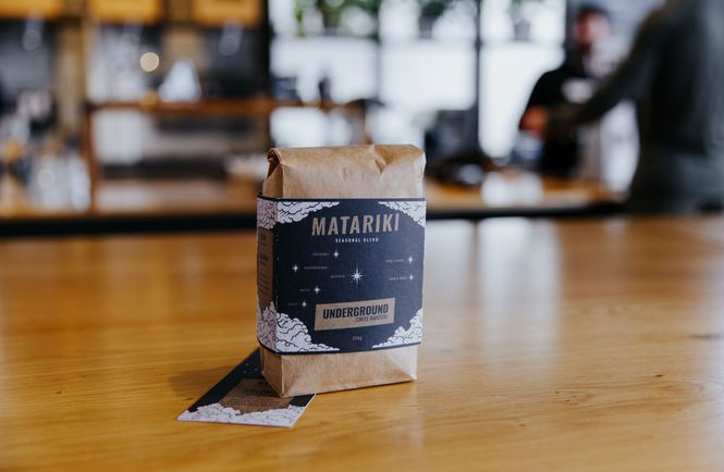 A close up picture of Underground Coffee's Matariki blend.