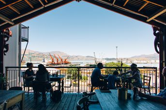 Lyttelton Coffee Co. balcony.
