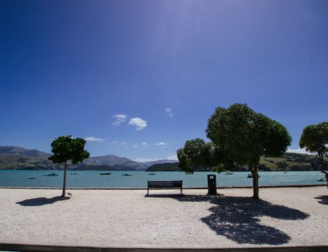 A photo of Akaroa Harbour.