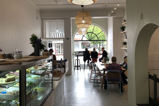 Inside the Herb and Olive cafe in Blenheim.