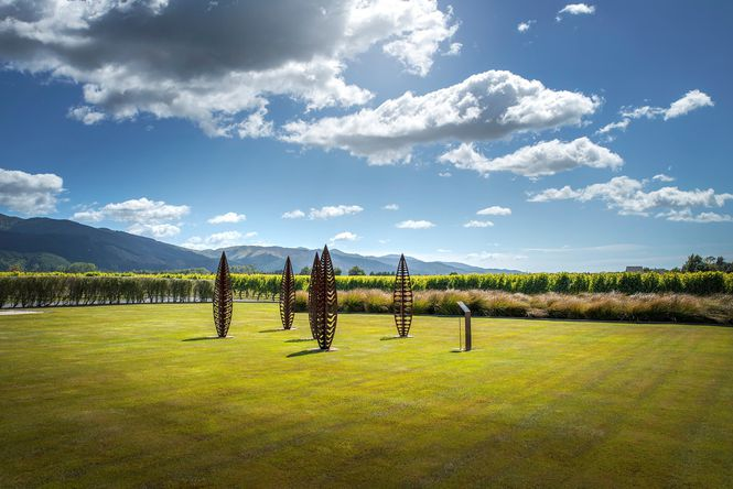 Art on the grass at Wairau River Wines.
