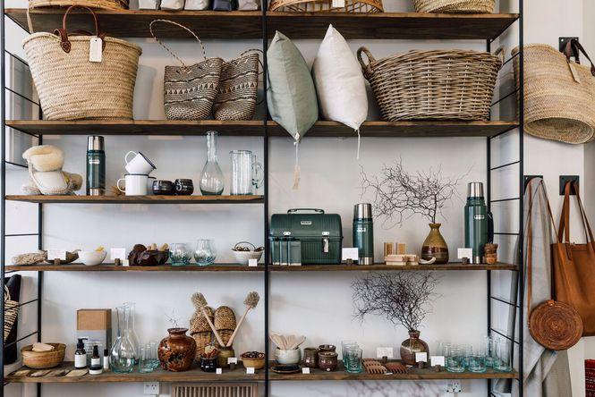 Giftwares and homewares on shelves at Blackbird Goods.