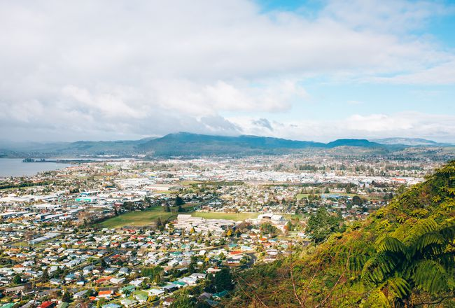 Looking down towards Rotorua from a hill.