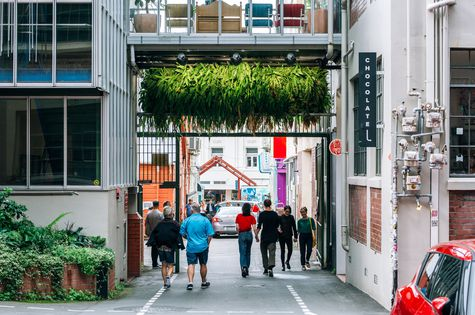 People walking down Hannahs Laneway.