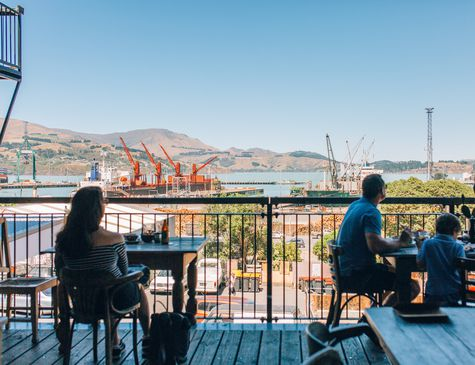 Looking out to Port Lyttelton from Lyttelton Coffee Co-op.