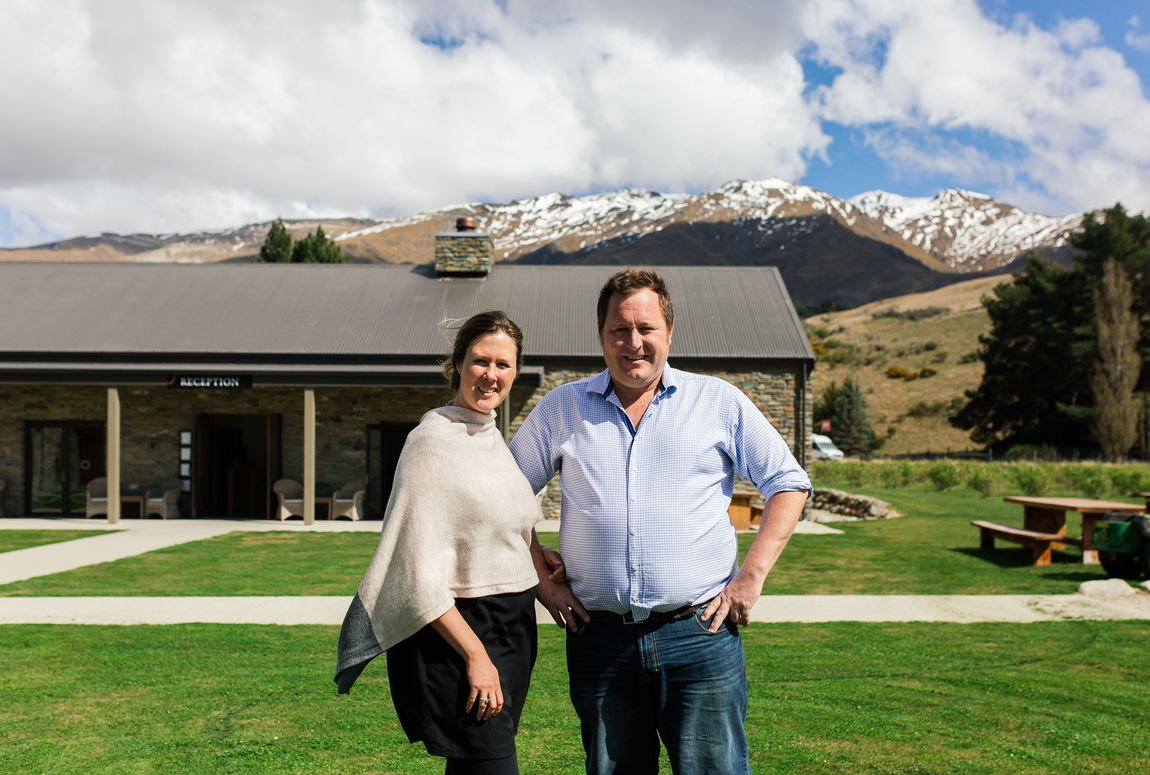 Desiree and Ash outside Cardrona Distillery.
