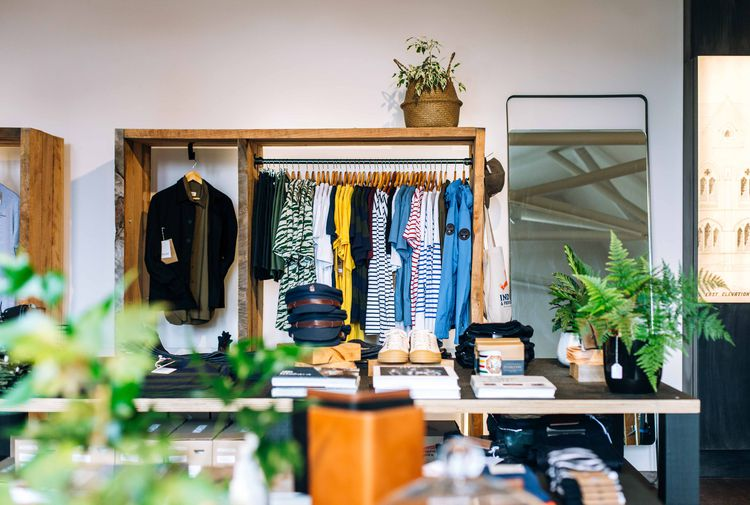 Plants and clothes on display inside Indigo and Provisions.