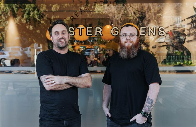 Nick and Joe from Buster Greens looking to camera.