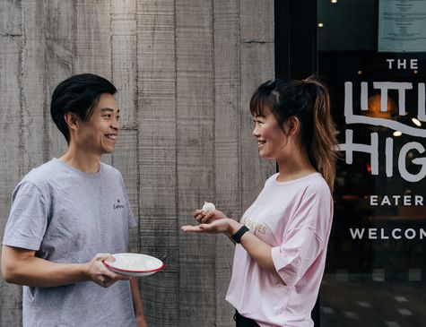 Andy Shiau and Mia Zhao outside Little High Eatery in Christchurch
