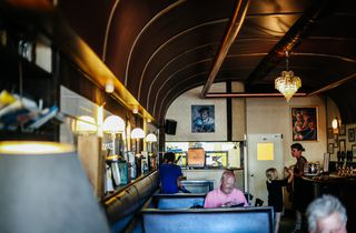 Booth seating inside the bar.