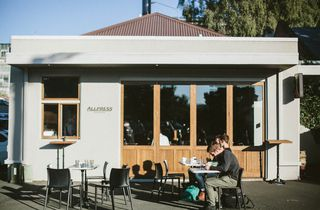 Front of Allpress cafe in Dunedin.