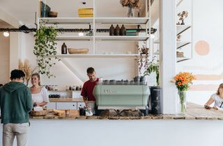The counter and coffee machine at Ally & Sid