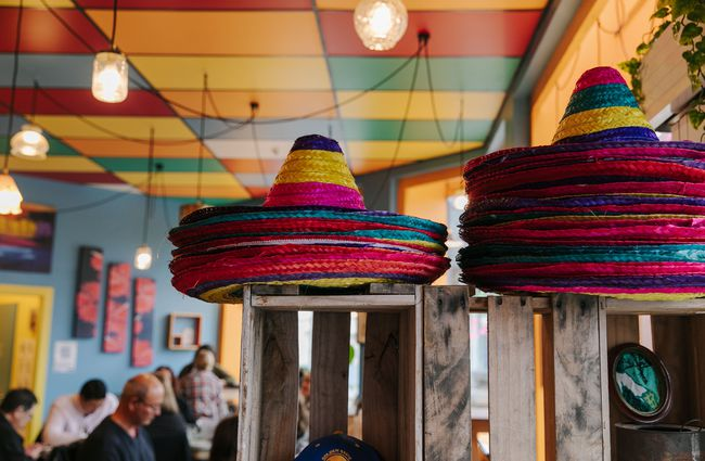 Stacks of sombreros.