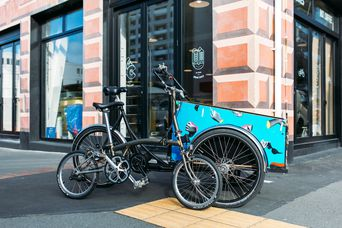 Bikes on display outside the shop.