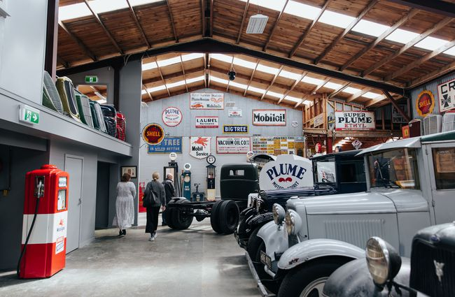The inside of the car museum.