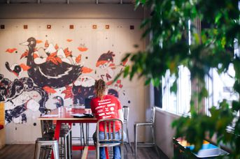 Art mural on the wall.