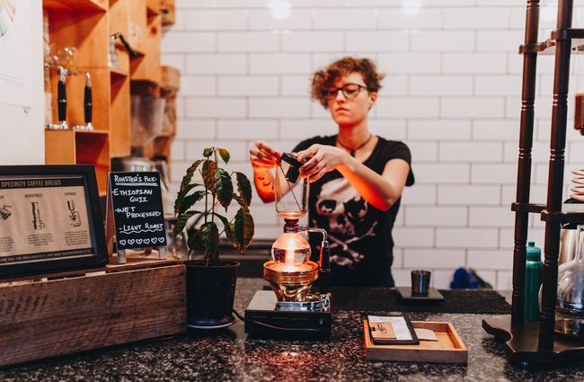 Barista making a brew at Black Betty, Christchurch.
