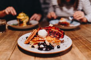 Waffles with bacon at Black Betty, Christchurch.