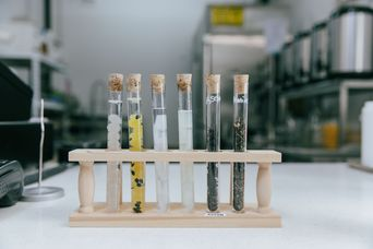 Close up of test tubes on the counter inside BobaLab.