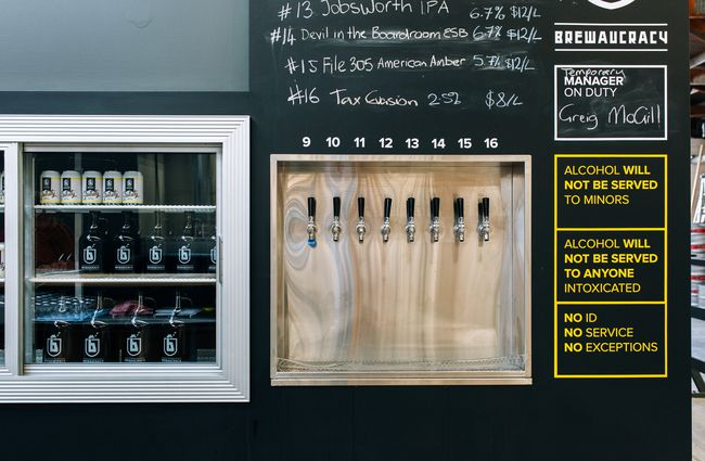 The taps and fridge at Brewaucracy, Hamilton.
