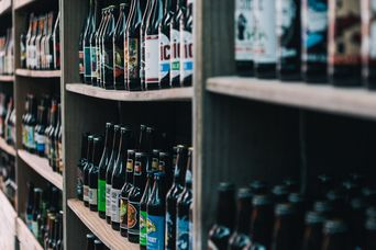 Bottles on a shelf.
