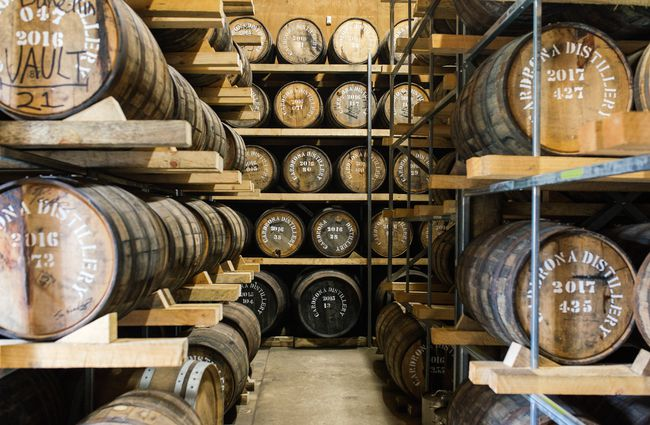 Barrels of bourbon being aged.