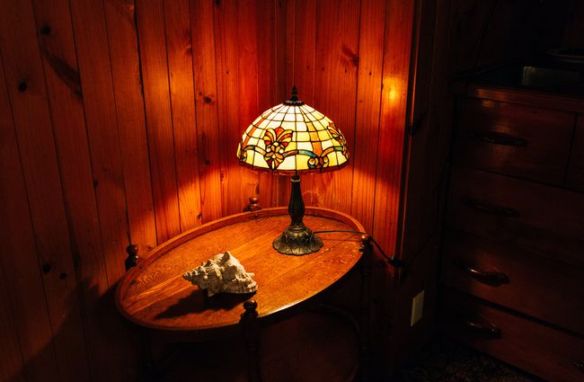 Lamp on side table.