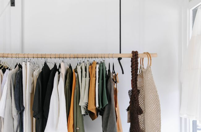 Clothes on a rack.
