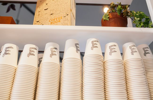 Close up of takeaway cups.