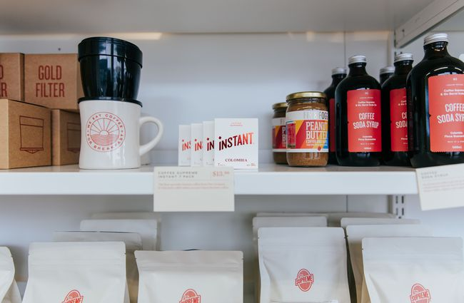 Shelves of coffee merchandise.