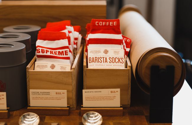 Supreme barista socks for sale at  Coffee Supreme Midland Park, Wellington.