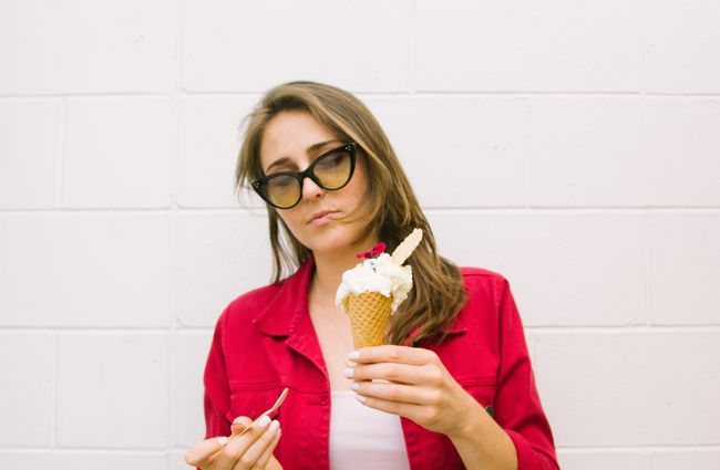 A woman with an ice cream.