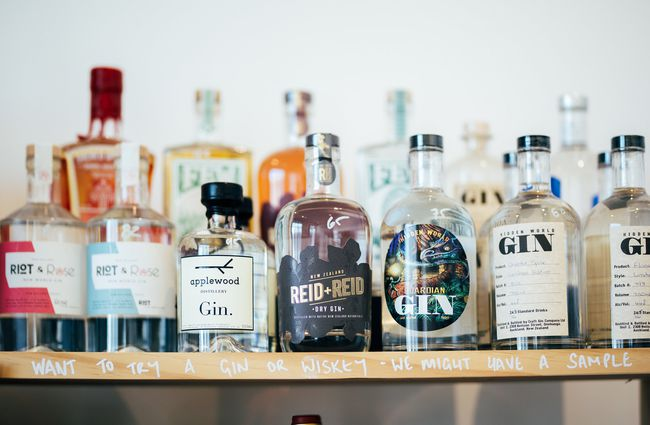 Close up of bottles of gin.
