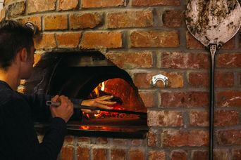 Wood fire pizza oven.