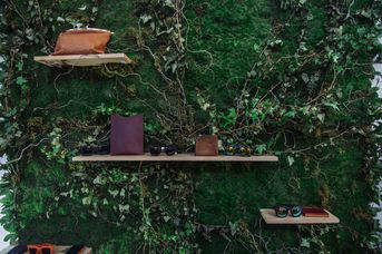 Plant wall with shelves on it.