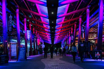 People walking under purple lights at Eat Streat in Rotorua.