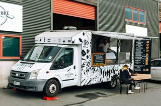 Black and white food truck.