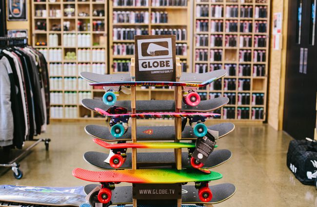 Skateboards on display.