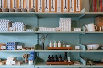 Homewares on shelves.