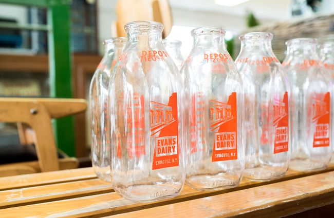 Old fashioned glass milk bottles.