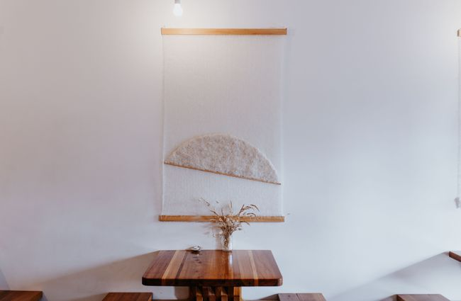 A table and artwork