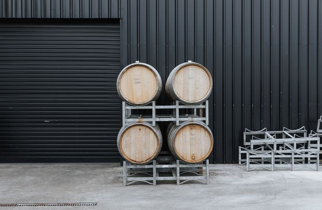 Wine barrels outside.