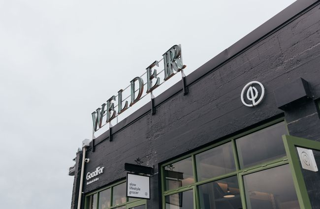 Exterior shot of The Welder and GoodFor signage.