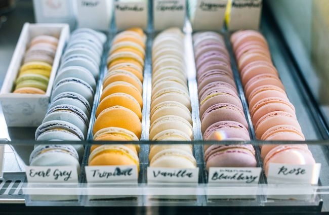 Trays of macarons.